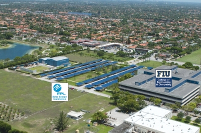 Artist's conceptual rendering of the 1.6-megawatt solar installation FPL plans to install at Florida International University in 2015. The solar-powered parking canopies will also create about 600 shaded parking spaces in the parking lot of FIU's Engineering Center.