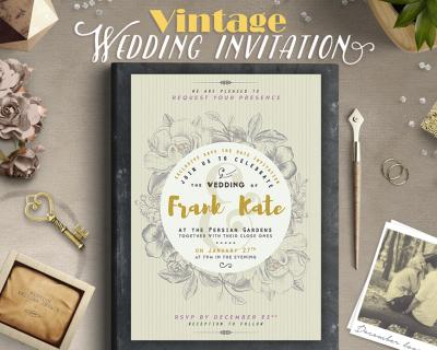 Retro / Vintage Style Wedding Invitation Design by ...