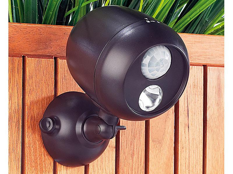 Lunartec Kabellose Außenleuchte mit PIR-Bewegungssensor, 1W-LED - lampen ausen led