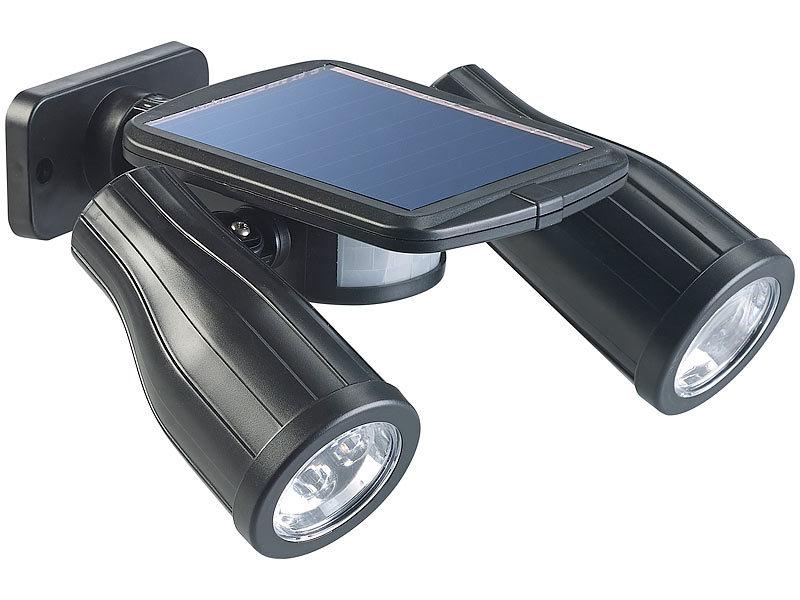 Lunartec Solar-Strahler mit 2 LED-Lampen und PIR-Sensor, IP44 - lampen ausen led 2