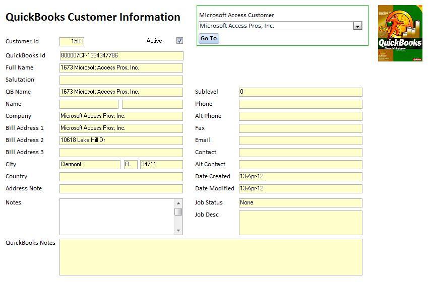 Microsoft Access Database QuickBooks Integration