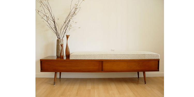Long Bench With Cushion The Mid Century Modernist