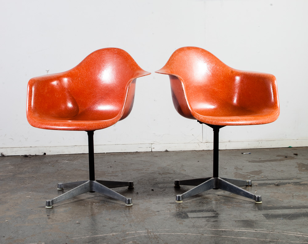 Eames Chair Patent Mid Century Modern Lounge Chair Set Eames Herman Miller Dax Orange Red Arm Shell X H Patent Vintage Fiberglass