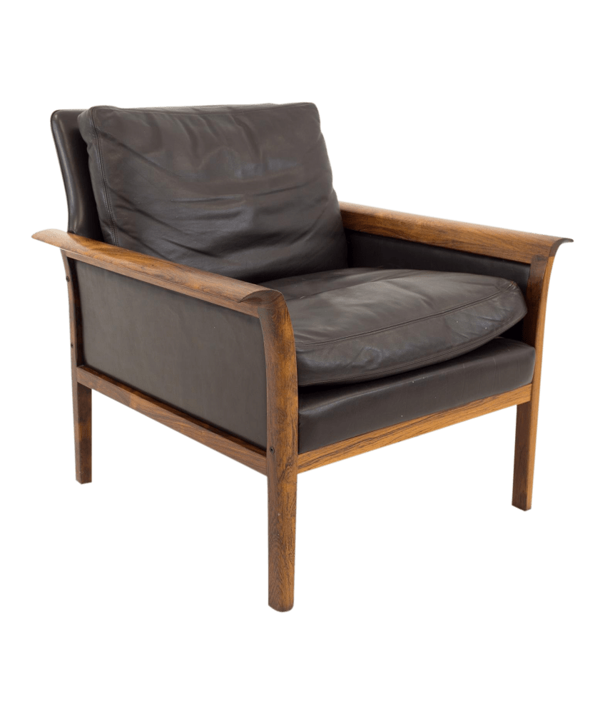 Leather Lounge Hans Olsen For Vatne Mobler Mid Century Danish Rosewood Brown Leather Lounge Chair