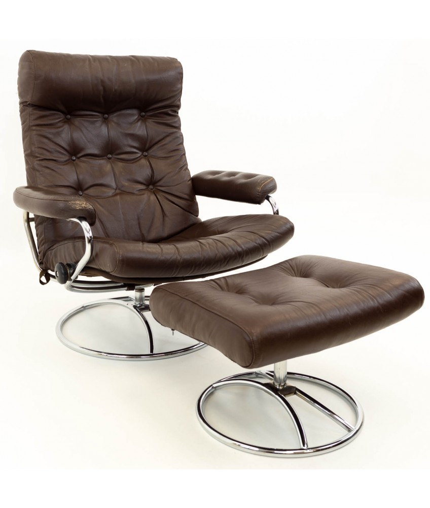 Modern Lounge Ekornes Stressless Reclining Swivel Brown Leather Mid Century Modern Lounge Chair Ottoman