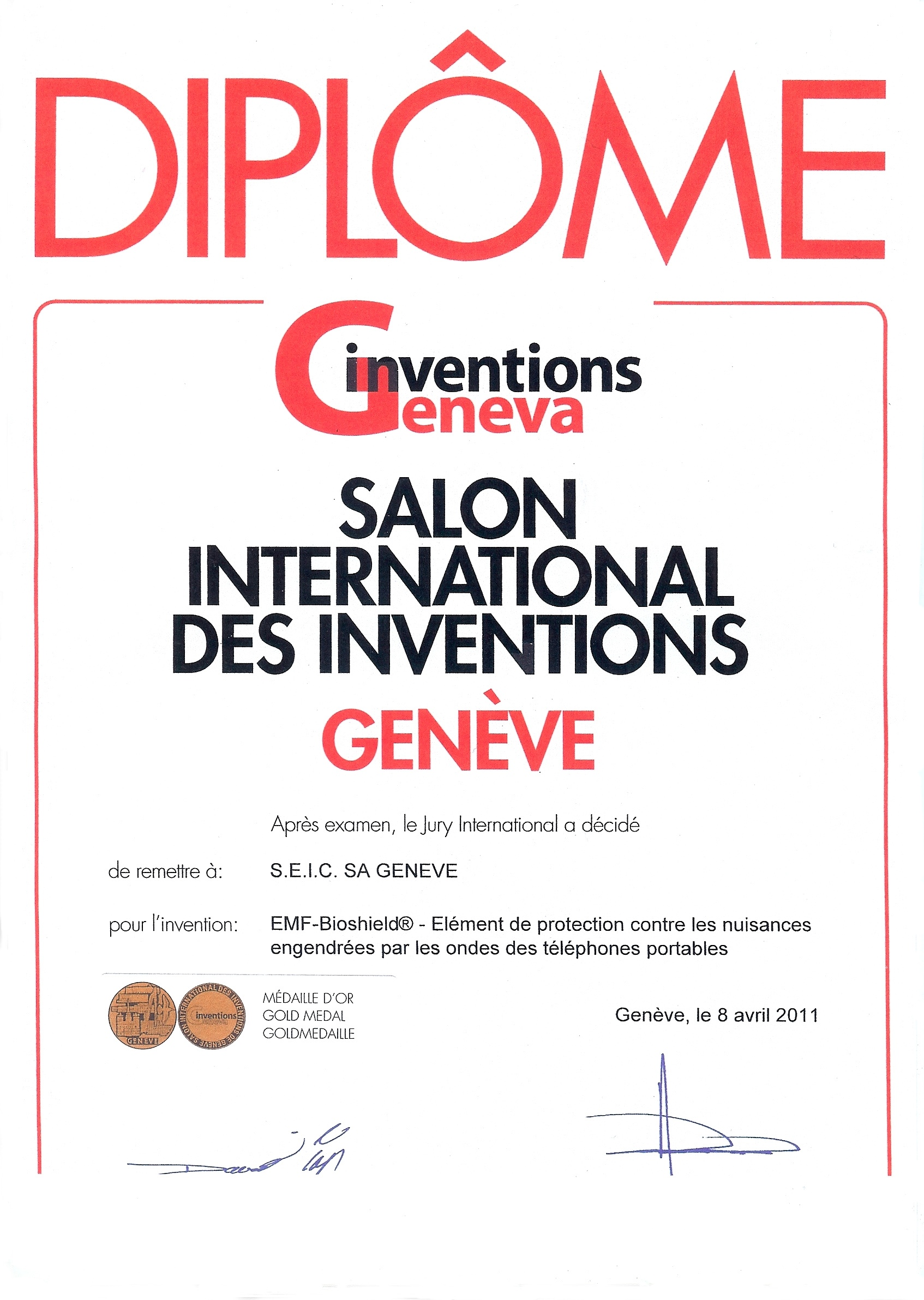 Salon Des Inventions Geneve Emf Bioshield Tel Médaille D 39or Du 39e Salon