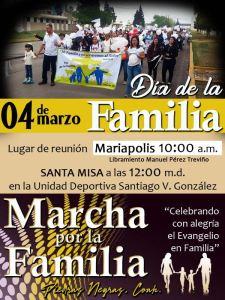 PASTORAL FAMILIAR INVITA A LA MARCHA FAMILIAR EN PIEDRAS NEGRAS