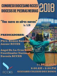 RCCES INVITA AL CONGRESO DIOCESANO 2018 EN PIEDRAS NEGRAS