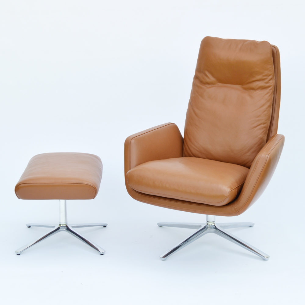 Chair Sessel Cor Cordia Sessel Hocker Leder Cognac