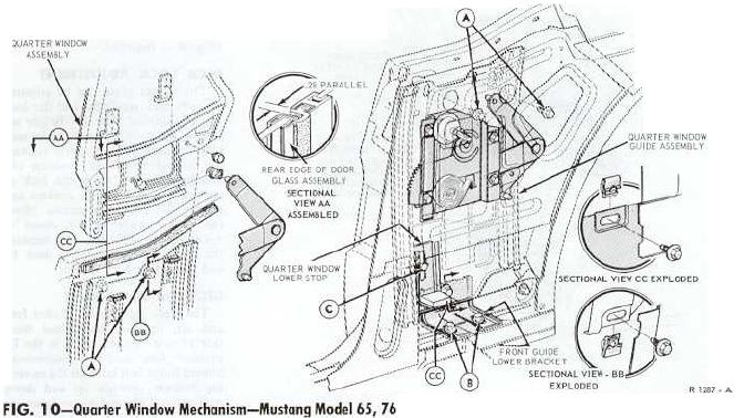 1970 mustang window diagram
