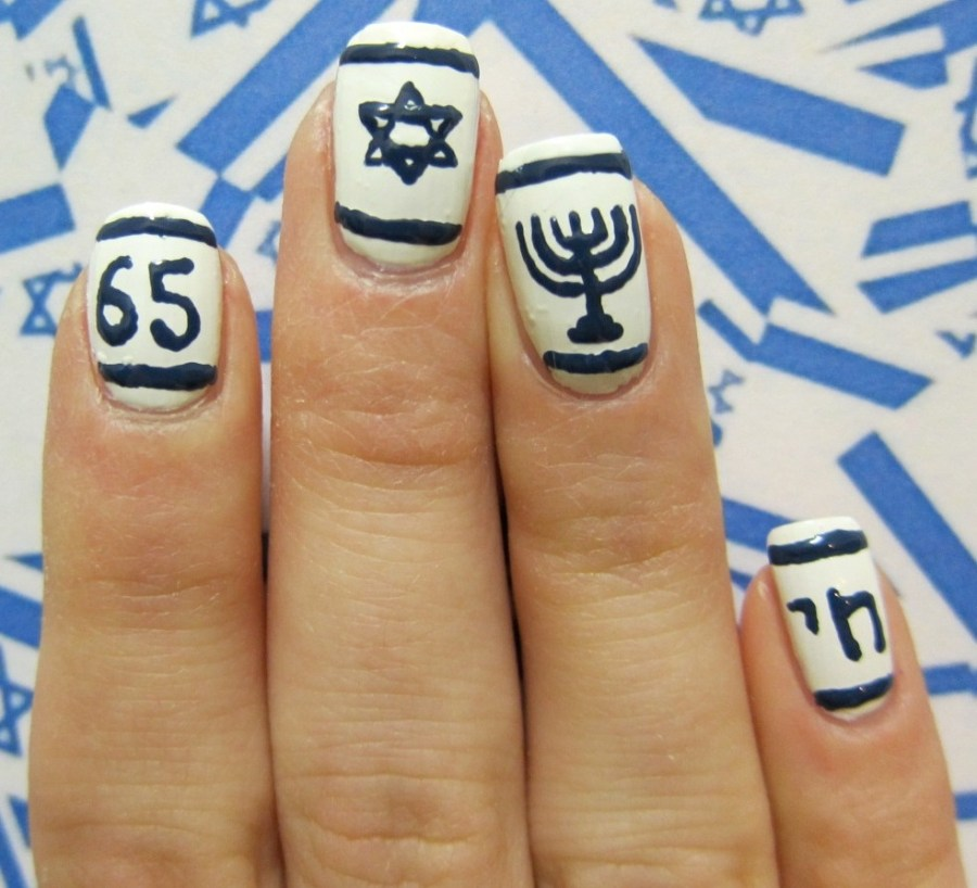 Israel flag nail art
