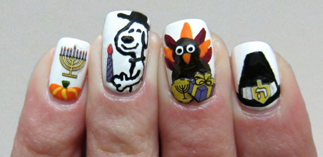 Thanksgivukkah Nail Art
