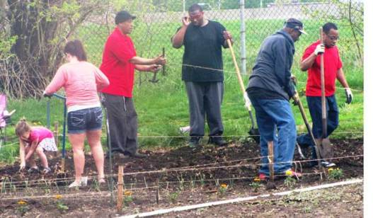 Drug Court participants and community volunteers began planting at the Municipal Court Community Garden on April 26.