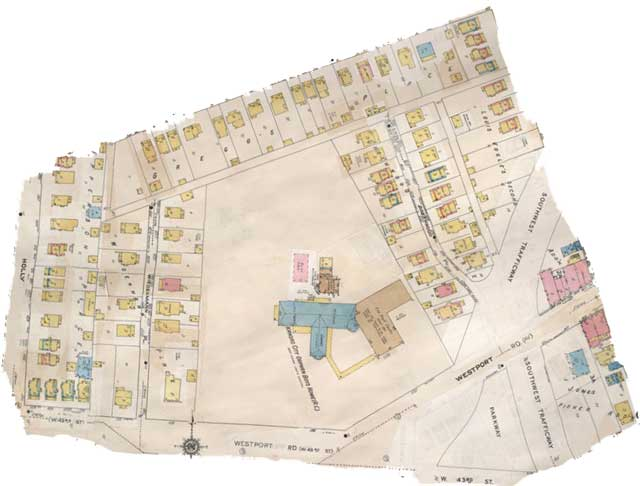An old map shows the Orphan Boy's home between Westport Road, Southwest Trafficway and 43rd Streets. Image courtesy Kansas City Public Library - Missouri Valley Special Collections.