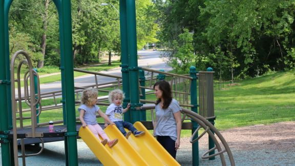 Rachel Porter and her children enjoy the Roanoke Park playground, but they also have big dreams for a more modern playground in the near future.