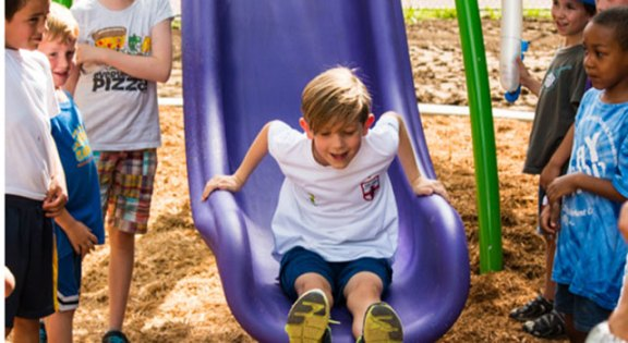 The official first slide on the new Roanoke Park playground.