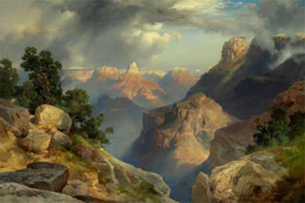 Photo courtesy Nelson-Atkins Museum of Art. Thomas Moran (born England), 1837–1926. Grand Canyon, dated 1912 Oil on pressboard 15-7/8 × 23-7/8 inches (40.3 × 60.6 cm). Bequest of Katherine Harvey.