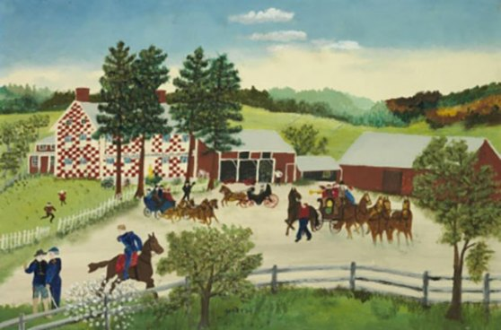Grandma (Anna Mary Robertson) Moses, American , 1860-1961. The Old Checkered House, 1853, 1945-1946 . Gouache on Masonite. Unframed: 14 1/8 x 21 1/8 inches (35.88 x 53.66 cm) Framed: 21 11/16 x 28 9/16 inches (55.09 x 72.55 cm). Gift of Mr. Joyce Hall. © 1973 (renewed 2001) Grandma Moses Properties Co., New York.