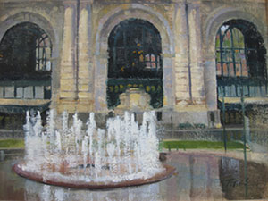 "Courtesy Penn Valley Park Conservancy. 1st Place—""Union Station in the Rain"" oil on canvas, 16 x 12, Patrick Saunders, Kansas City, Mo."