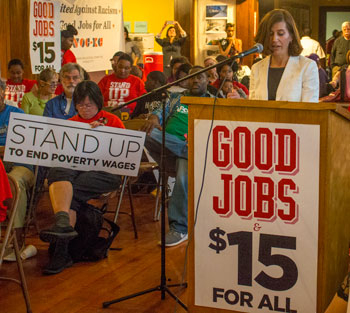 Attorney Gina Chiala told low-wage workers that a state law prohibiting cities like Kansas City from increasing the minimum wage is not only a bad law, it is unconstitutional.