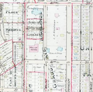 A 1911 plat map showing the Goodman and Price homes on the block.