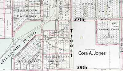 A 1907 map shows residential development going on all around the Squier Property (which then belonged to Squier's daughter Cora A. Jones). From Tuttle & Pike's Atlas of Kansas City.