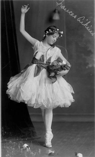 A 1916 photo from Miss Helen Thomes' scrapbook. The dancer is Frances Atkins, daughter of Mr. and Mrs. John H. Aikins, 4315 Warwick Boulevard.