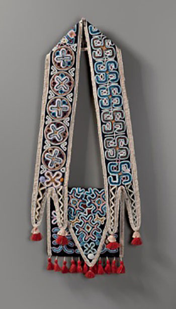 Courtesy Nelson-Atkins Museum of Art: Shoulder Bag, Seminole, Florida, ca. 1830. Wool cloth, glass beads, silk ribbon and wool yarn, 29 1⁄2 x 12 3⁄4 inches (74.9 x 32.4 cm). Gift of Joanne and Lee Lyon, 2012.27.5.
