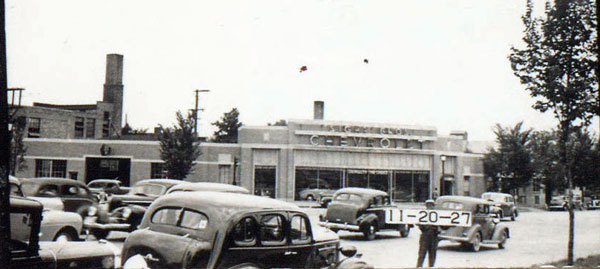 The southwest corner of Linwood and Gilliam in 1940, when it was the home of Sight Brothers Chevrolet.