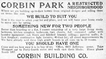A 1909 Kansas City Star advertisement for Corbin Park.
