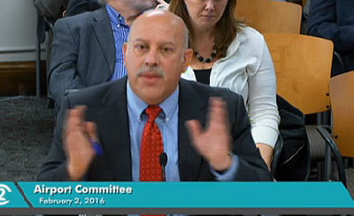Lou Salomon, an executive with AvAirpros, spoke to the council aviation committee.