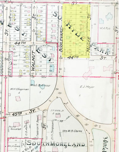 A 1907 Tuttle and Pike map of block.