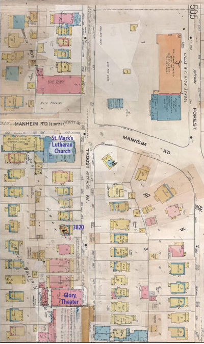 A 1907-1950 Sanborn Fire Insurance Map of the block. Courtesy Kansas City Public Library/Missouri Valley Special Collections.