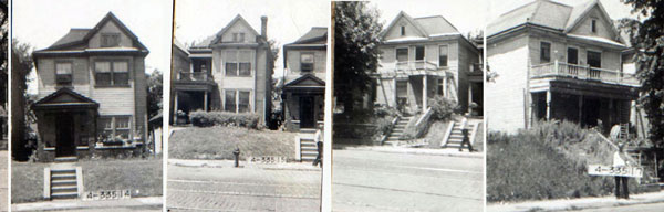 Houses along Holmes Street as they stood in 1940.