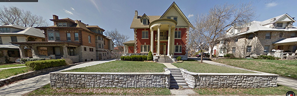 On the 3700 block of Washington Street, Thomas S. Moffett and his wife Louise built this home in 1906 (seen here in a recent image). Thomas Moffett died in 1930 and his wife became the first female member of the Kansas City Live Stock Exchange.
