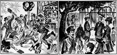 The Kansas City Star looked back at the Fourth of July of 1908 in its 1958 holiday issue. It compared the rowdy activities at 1908 Electric Park to the calmer festivities at Swope Park.
