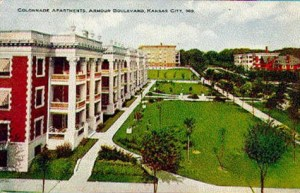 An early postcard showed off the Colonnade Apartments, highlighting their unusual wide front lawn and porches.