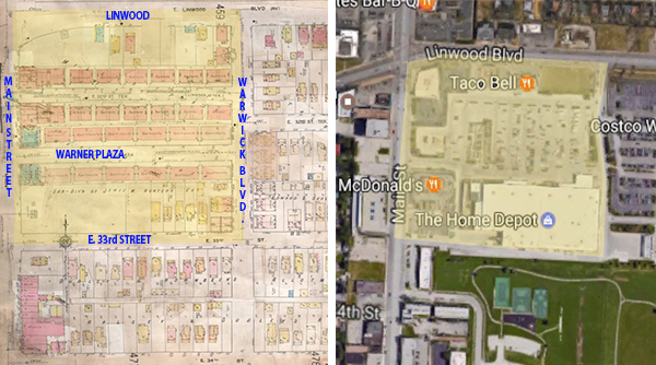 A 1909-1950 map shows the block when it was dominated the the Warner Plaza apartments and commercial buildings. On the right is a recent aerial photo of the same location.