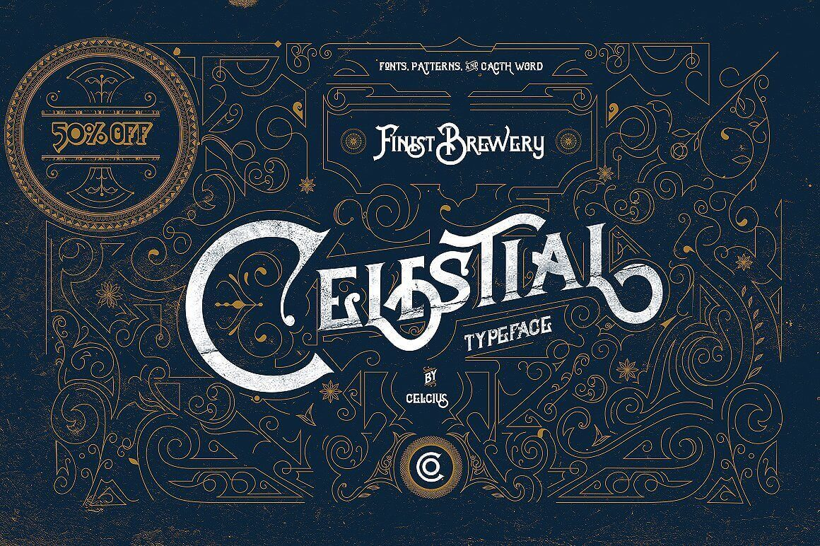 Calligraphy Fonts Victorian Celestial Typeface Offers Antique Victorian Style Only 9