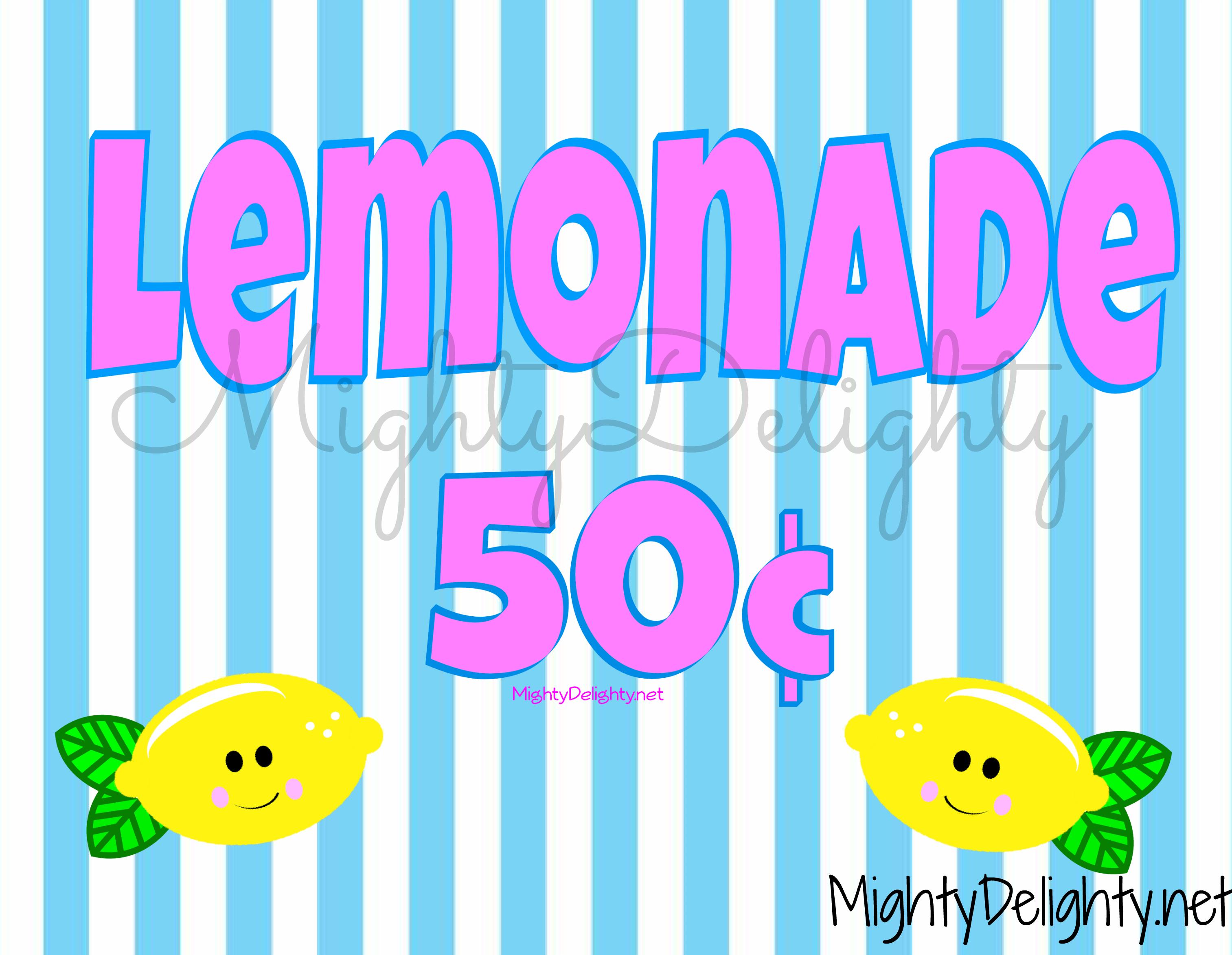 It's just a photo of Striking Lemonade Signs Printable