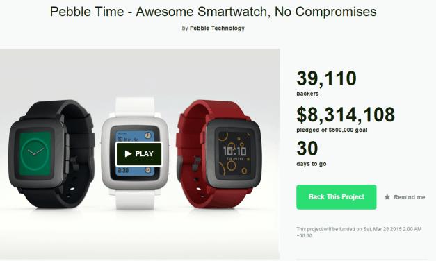 Pebble Announces Pebble Time Smart Watch. Raises $500K on Kickstarter in 17 Minutes
