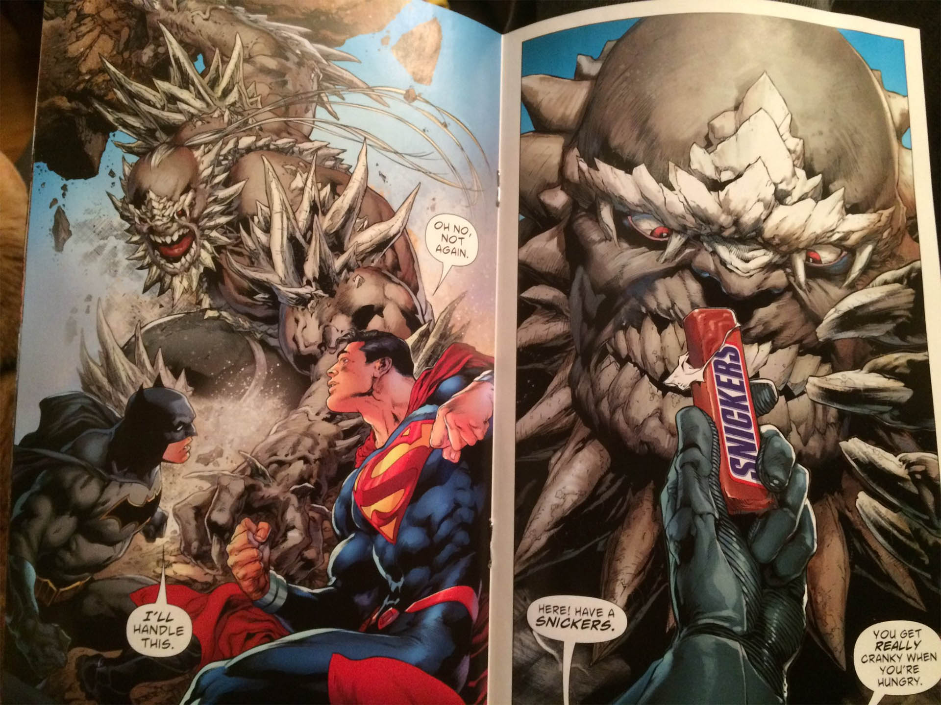 Fruit Quotes Wallpaper Superman Fights Doomsday With A Snickers Bar Mightymega