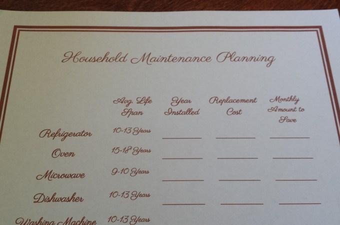 Household Maintenance Plan Printable