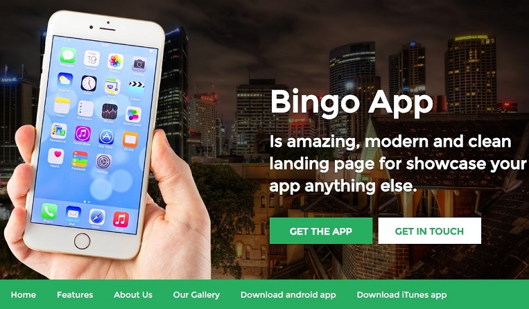 Bingo mobile app landing page template - HTML Migrateshop - app landing page template