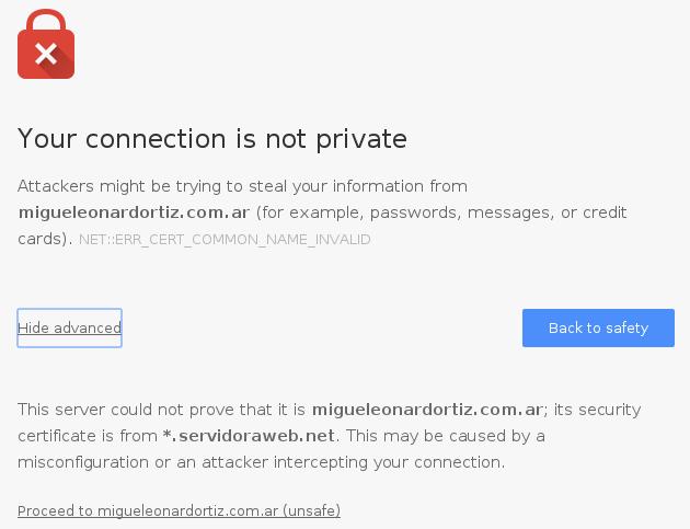 Mensaje de advertencia para SSL