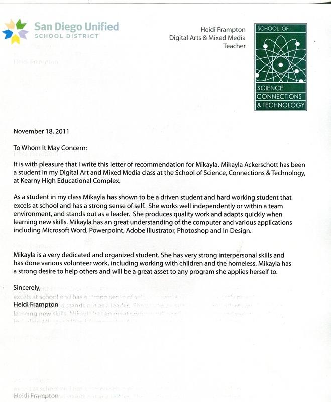 Letter Of Recommendation - Mikayla Marie Ackerschott ~ Senior Portfolio