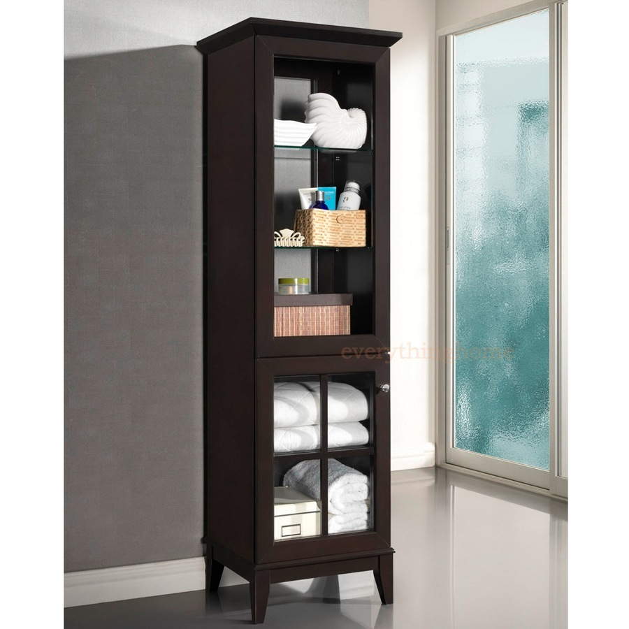 Contemporary Curio Cabinets Modern Dark Brown Storage Tower Curio Cabinet Glass