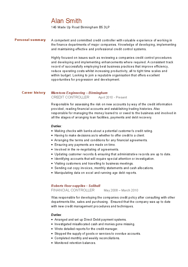 credit controller resume examples