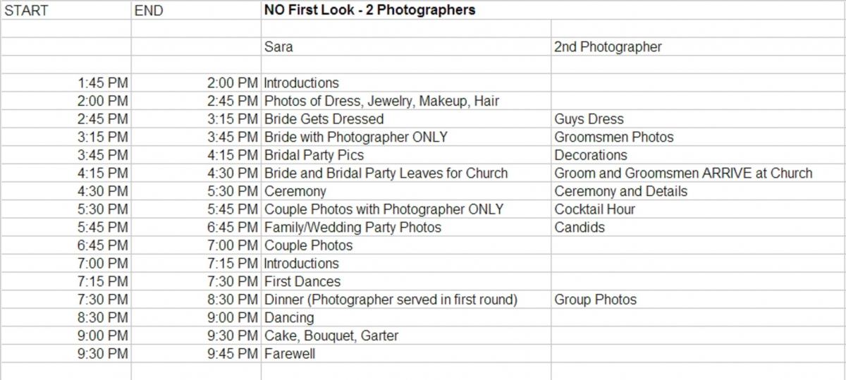wedding day timeline template - Alannoscrapleftbehind
