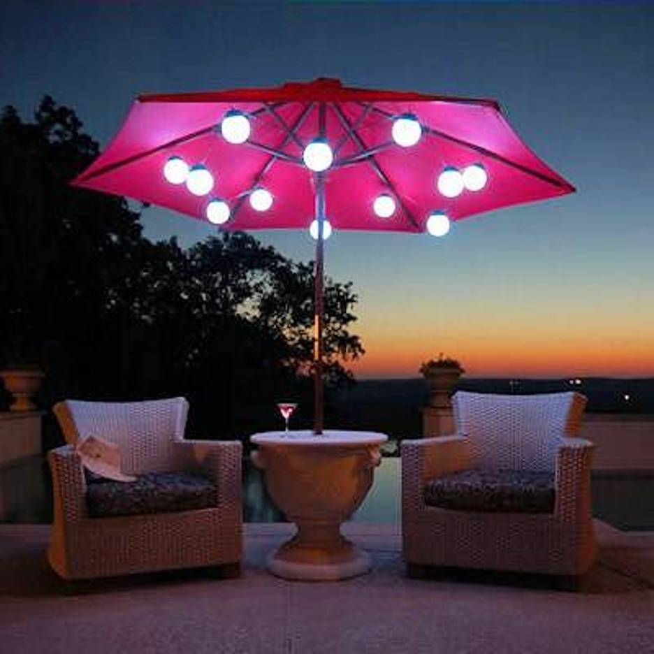 White Umbrella Marquees Solar String Lights For Patio Umbrellas Patio Ideas